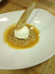 Made with Mahoneys Beach organically grown Pears! Poached winter pears, spiced rum caramel sauce, home-made vanilla ice cream, cinnamon buttered phyllo crisp!