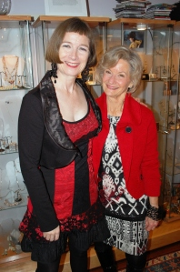 Gillian and Linda Henke show their affection for the colour red.