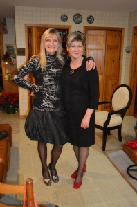 Tiiu and Emmy Alcorn at a Christmas party