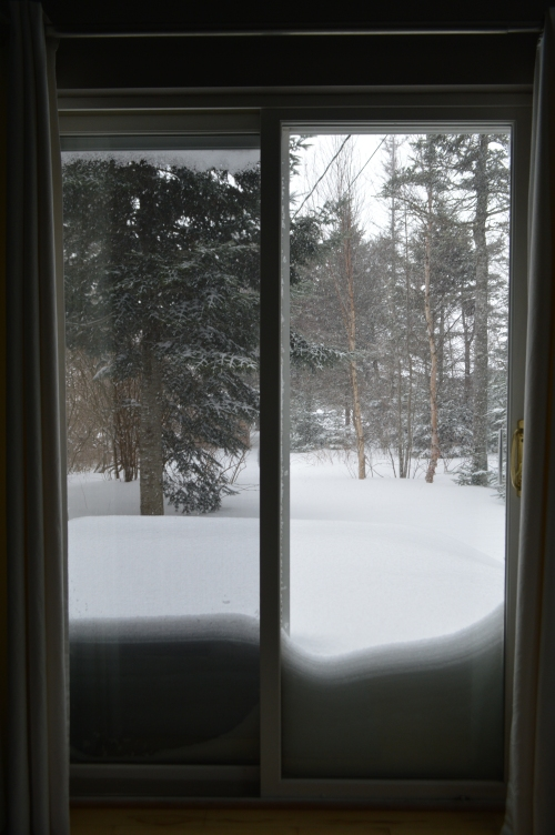 The snow at my door this morning.