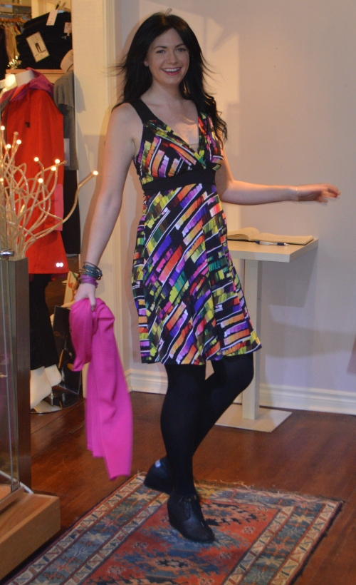 The dress is Canadian made by Papillon Blanc $180