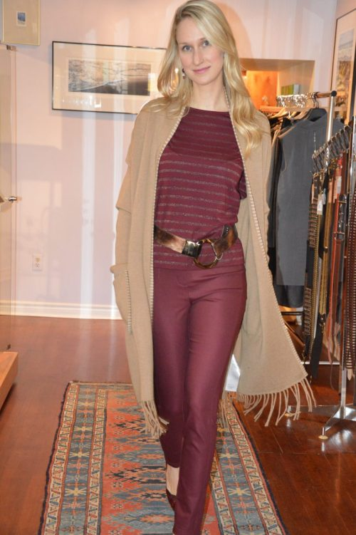 Metallic striped top by Part Two $79. Pants by comma $190