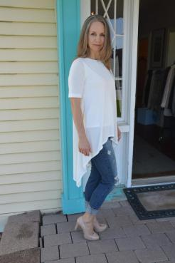 Periphery tunic blouse and Yoga distressed jeans.