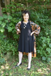 Desigual kimono on a little black dress.